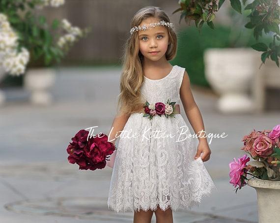 Flower girl dress, Flower Girl Dresses, rustic flower girl dress, boho flower girl dress, lace flower girl dress, Girls Dress, wedding dress