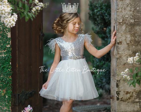 flower girl dress, blush flower girl dress, flower girl dresses, silver flower girl dress, princess dress, girls special occasion dress
