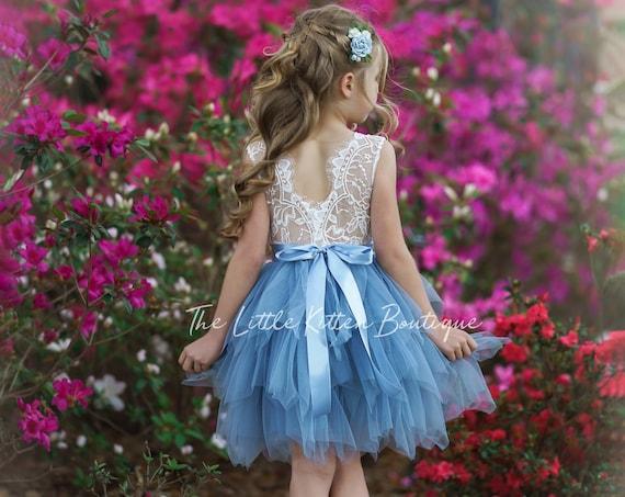 Tulle flower girl dress, lace flower girl dress, Rustic flower girl dress, Boho flower girl dress, Wedding dress, bohemian girls dress tulle