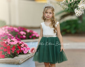 tulle flower girl dress, rustic lace flower girl dress, bohemian flower girl dress, boho flower girl dress, ivory flower girl dress, wedding