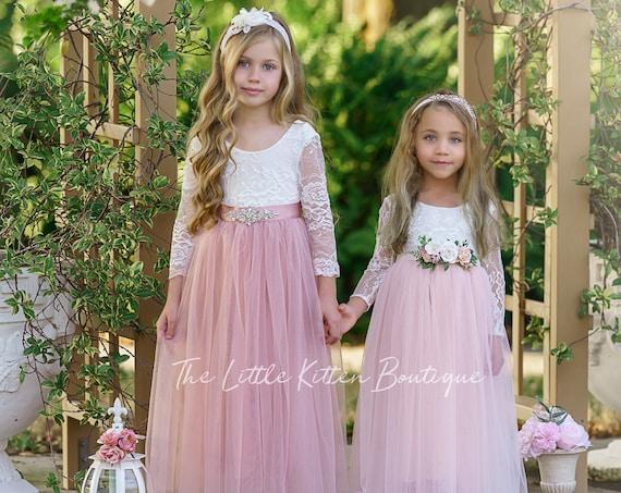 Flower girl dress, tulle flower girl dress, Long sleeve flower girl dress, rustic lace flower girl dress, boho flower girl dress, wedding