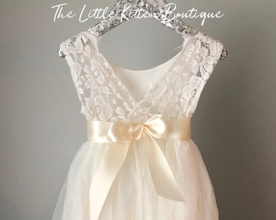 Flower Girl Dress, Ivory tulle flower girl dress White lace flower girl dress Rustic flower girl dress Boho flower girl dress Toddler dress