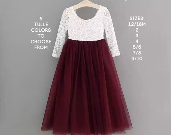 Burgundy Flower Girl Dress, Christmas Dress, Blush pink tulle flower girl dress, White lace flower girl dress Rustic, Toddler Holiday dress