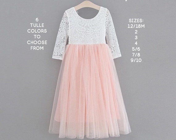 Blush pink tulle flower girl dress, White lace flower girl dress, Rustic flower girl dress, Boho, Beach flower girl dress, Toddler dress