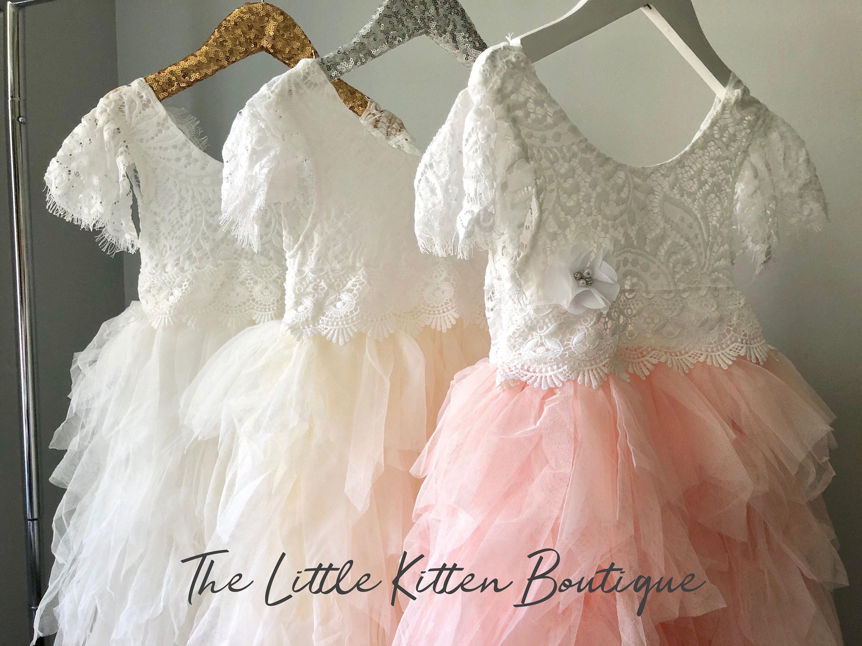 Blush Pink Tulle Flower Girl Dress White Lace Flower Girl Dress
