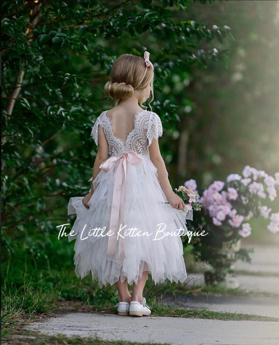 390f0583363 Tulle flower girl dress ivory flower girl dress rustic