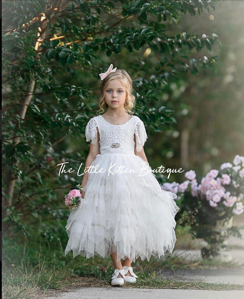 8d954705c Tulle flower girl dress lace flower girl dress Rustic flower   Etsy