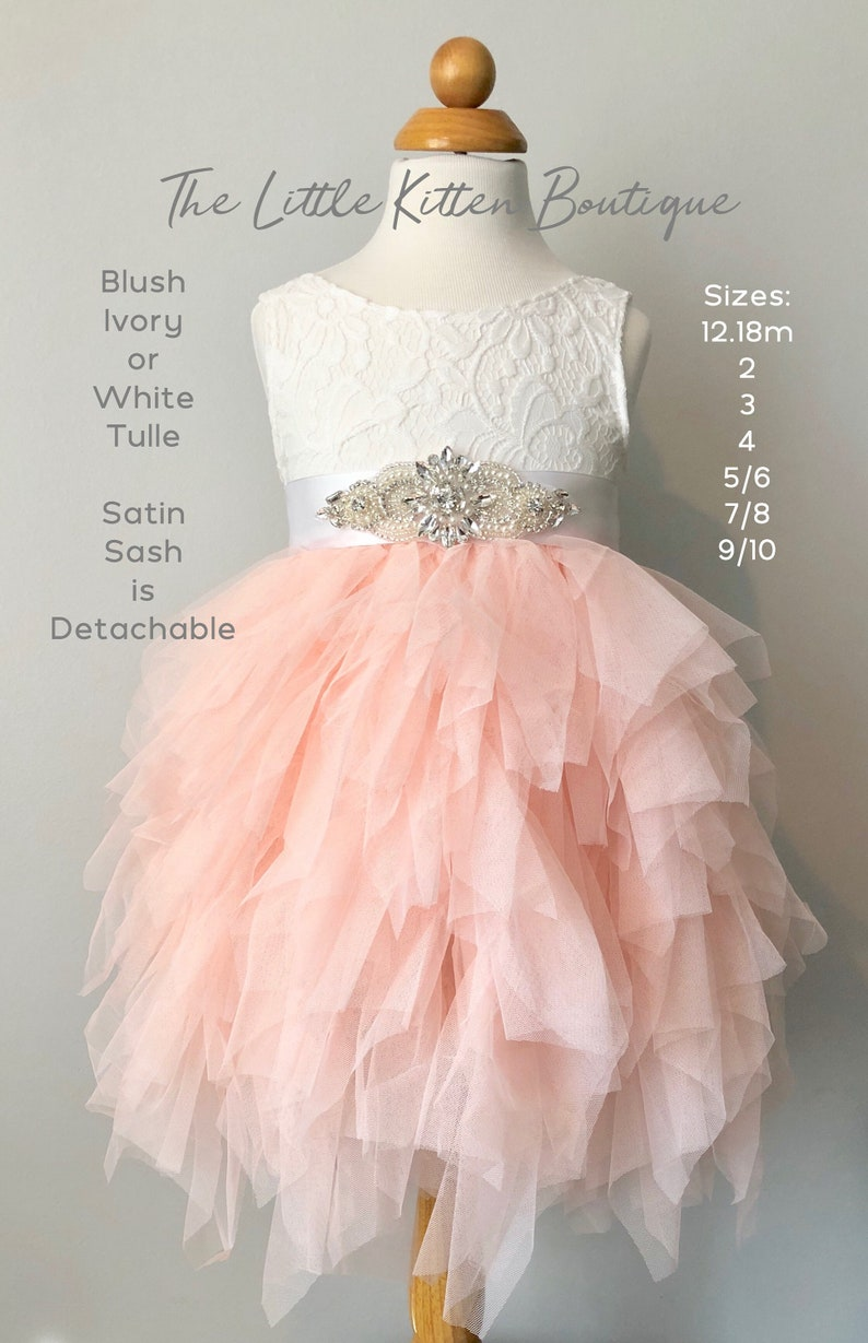 79f230871ad Blush pink tulle flower girl dress White lace flower girl