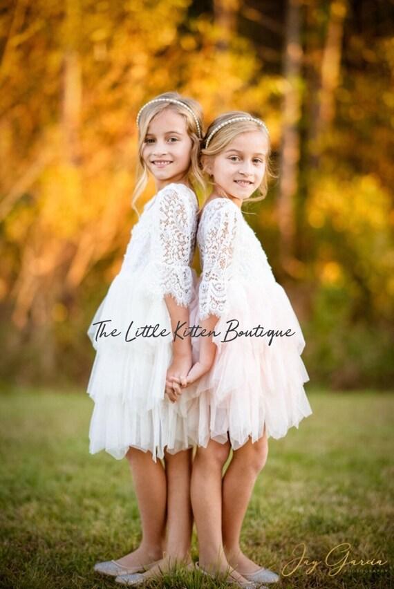 Tulle flower girl dress, Pink Flower Girl Dress, Blush Flower Girl Dress, White lace flower girl dress, Ivory flower girl dress, tutu dress