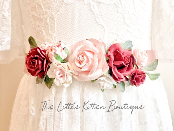 Flower Sash, wedding sash, custom sash, sash's, sashes for dresses, wedding belt, Sash, Satin Sash, floral Sash, Wedding, Flower girl dress