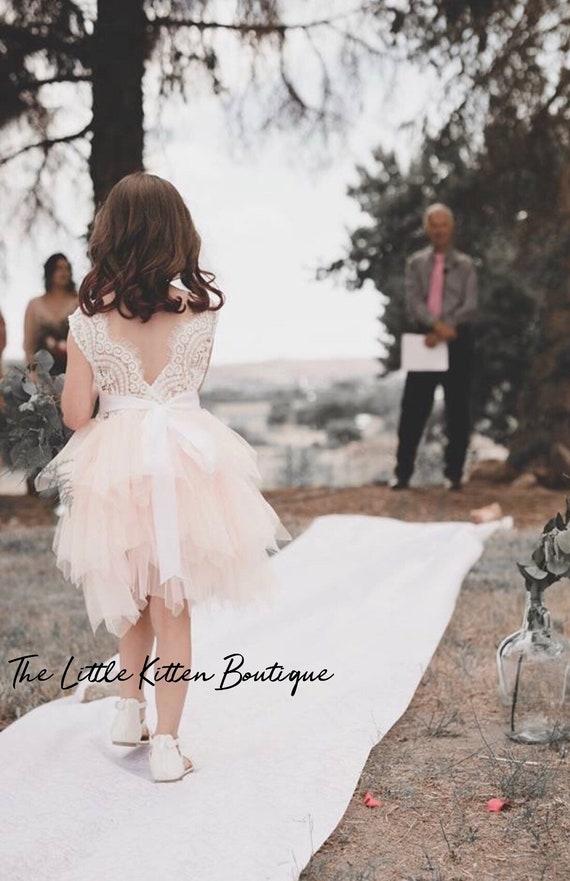 tulle and lace Flower Girl Dress, Blush Flower Girl Dresses, Rustic Lace flower girl dress, Boho dress, ivory flower girl, outdoor wedding
