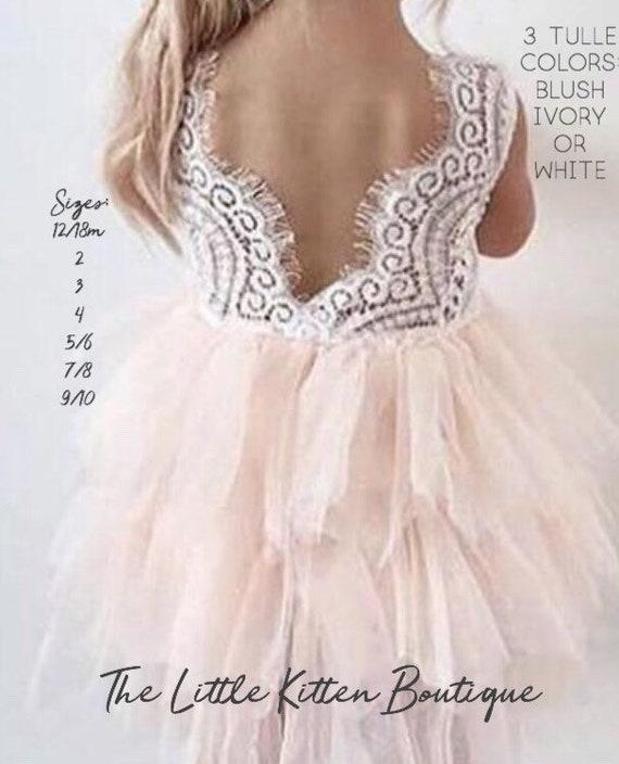 Flower Girl Dress Blush Flower Girl Dress Pink Flower Girl Dress Lace Flower Girl Dress White Flower Girl Dress Ivory Tutu Tulle Vintage ,
