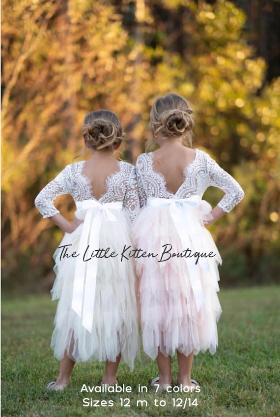 Long sleeve lace and tulle flower girl dress , rustic lace flower flower girl dress, ivory boho flower girl dress, pink flower girl dress