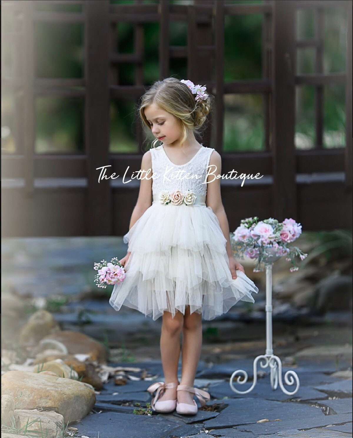 d9e20565b99 Blush pink tulle flower girl dress