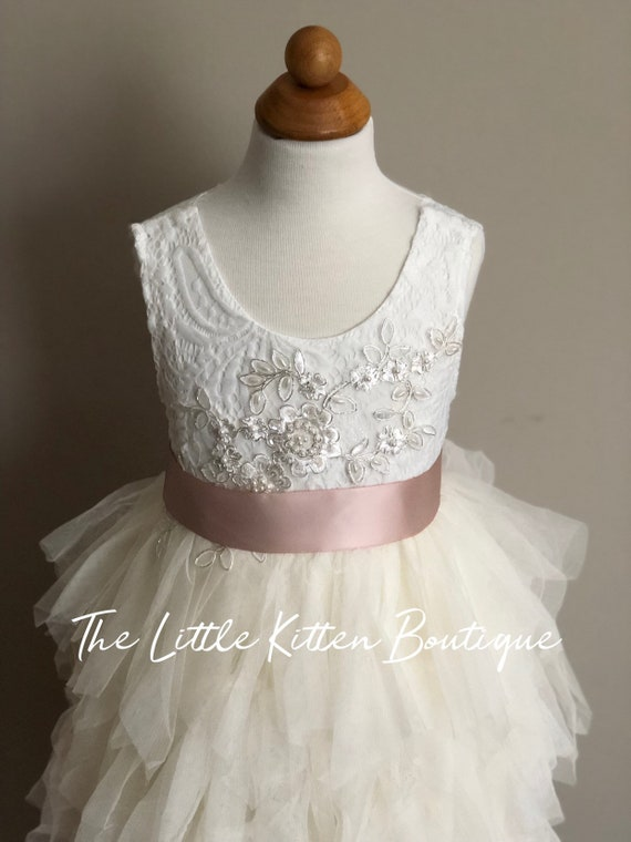Tulle Flower Girl Dress, Ivory Flower Girl Dress, White Lace Flower Girl Dresses, pink blush flower girl Dress, girls boho Birthday dress