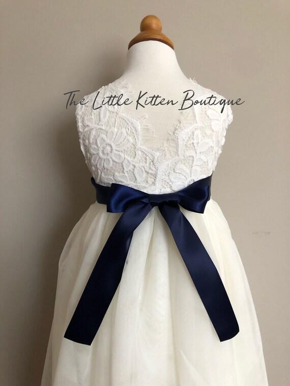 Ivory flower girl dress, tulle Flower Girl dress, rustic white lace flower girl dress, Rustic flower girl dress, Navy flower girl dress