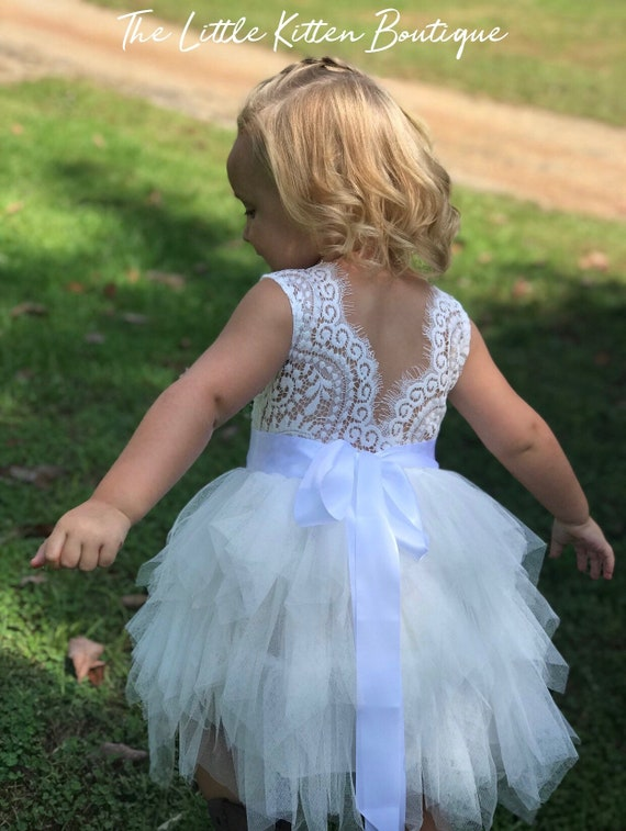 Blush pink tulle flower girl dress, White lace flower girl dress, Rustic flower girl dress, Ivory Flower girl, country flower girl dress