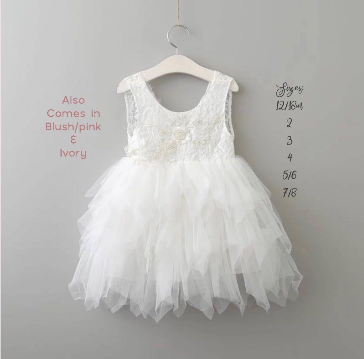 Pink Flower Girl Dress, Blush Flower Girl Dress, White Lace Flower ...