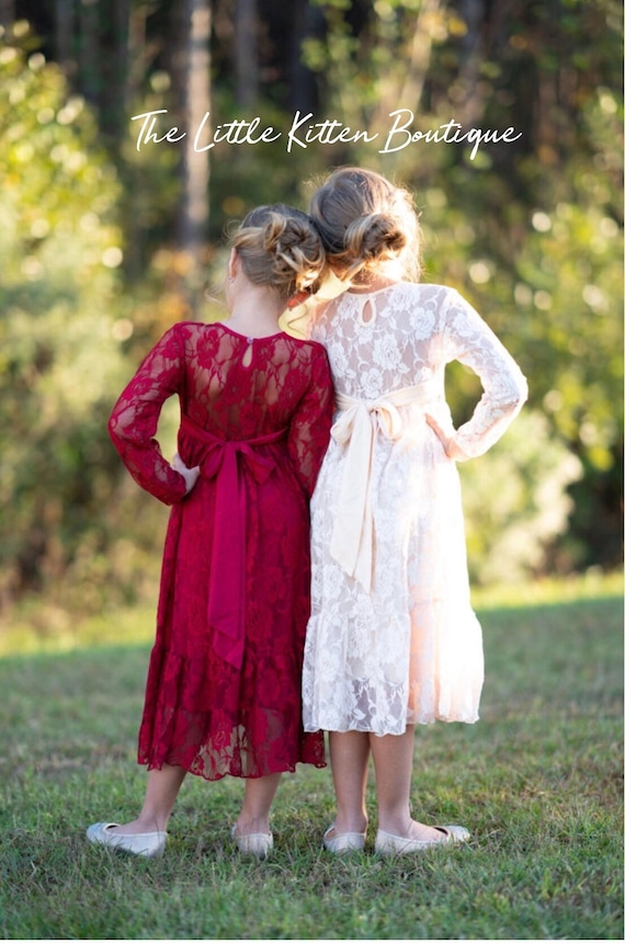 Lace Flower girl dress, Long sleeve Boho flower girl dress, Ivory Rustic flower girl dress, Flower girl dresses, Country flower girl dress