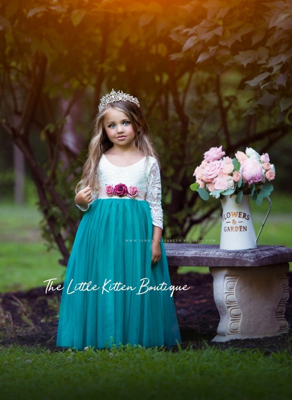 tulle flower girl dress, rustic lace flower girl dresses, long sleeve flower girl dresses, boho flower girl dress, ivory flower girl dress