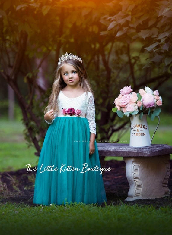 Girls Holiday Dress, Girls Christmas Dress, Girls Special Occasion Dress, Daddy Daughter Dance Dress, Flower Girl Dress, Long Dress, Tiara
