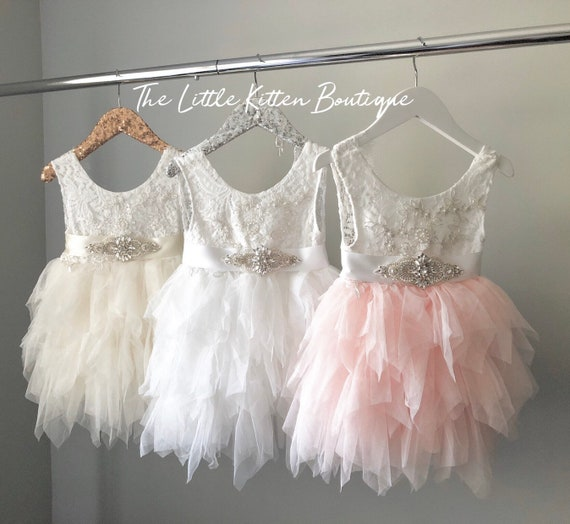 lace flower girl dress, tulle flower girl dress, blush pink Flower Girl dress, ivory flower girl dress, rustic lace flower girl dress, tutu