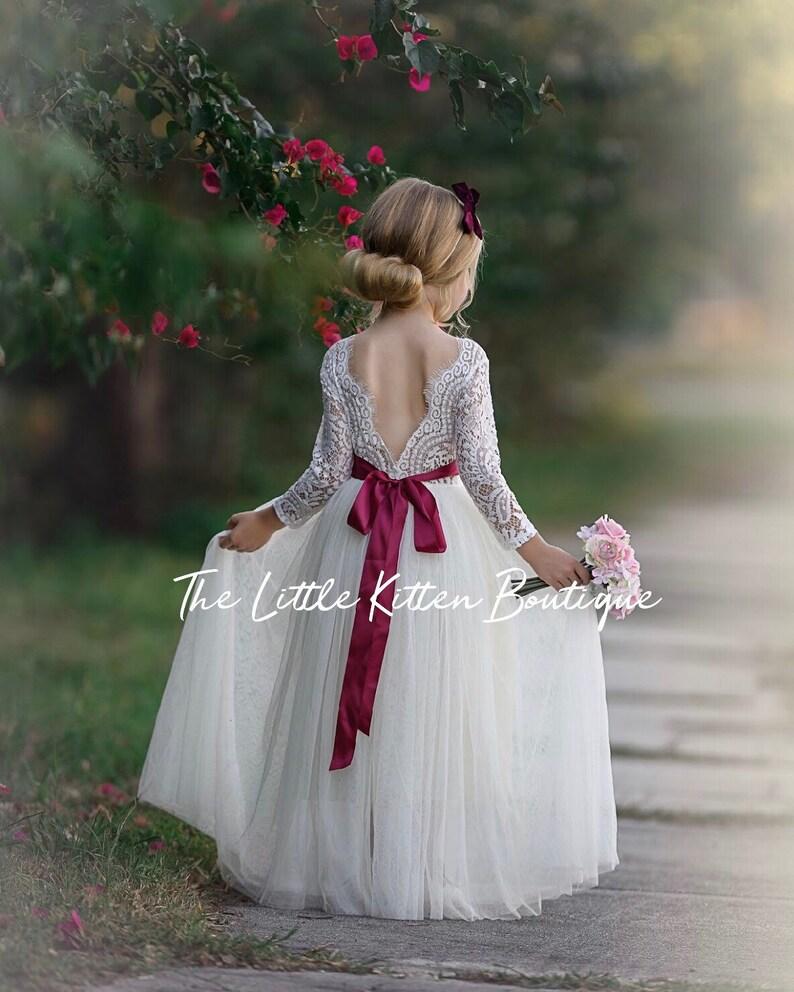 Ivory lace Flower girl dress, Tulle flower girl dress, long sleeve flower girl dresses, rustic flower girl dress, junior bridesmaids dress