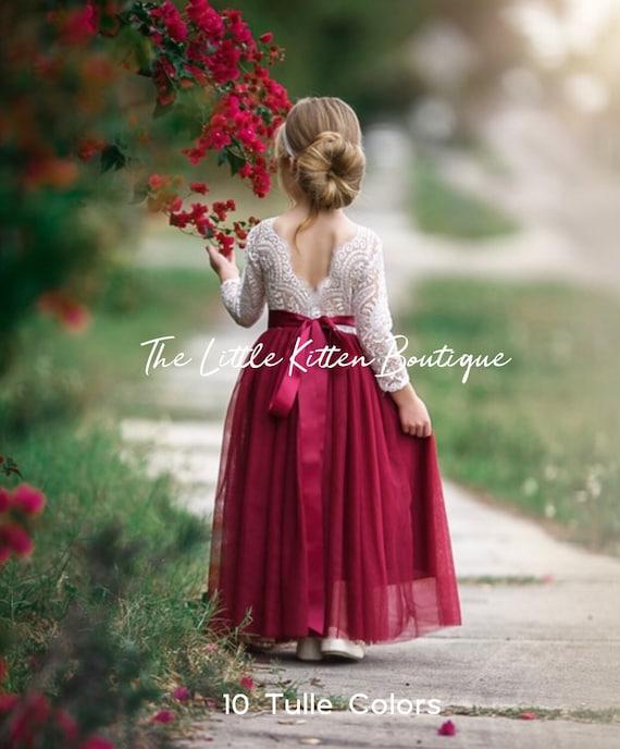 Long sleeve flower girl dress, Fall Flower Girl Dress, Ivory Tulle Flower Girl Dress, lace flower girl dress, Burgundy Holiday dress, Sash
