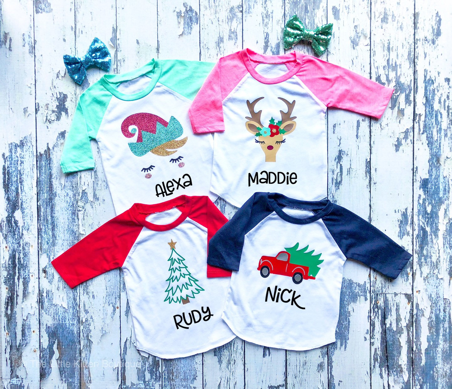 Kids Christmas Raglan Shirts, Pictures with Santa shirts, elf party ...