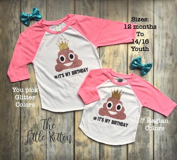 Poop Emoji Shirt, Poop Emoji Birthday Shirt, Unicorn Shirt, Unicorn Shirts, Girls Unicorn Shirts, Girls Raglans, Girls Birthday Shirt