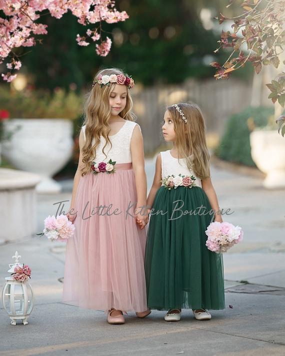 Tulle Flower Girl Dress, Forest Green Flower Girl Dress, Mauve Flower Girl Dress, Rustic lace flower girl dress, Boho Flower Girl Dress
