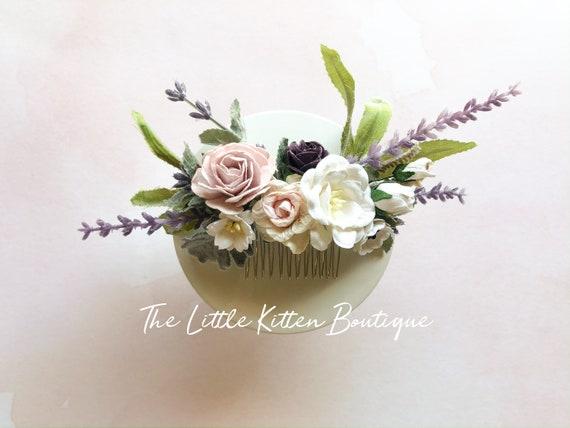 Flower hair combs, flower wedding hair comb, wedding hair accessories, bridal flower crown, Lavender wedding hair comb, bridal hair piece