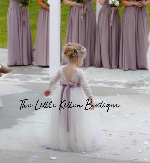 tulle flower girl dress, rustic lace flower girl dresses, long sleeve flower girl dresses, winter flower girl dress, ivory flower girl dress