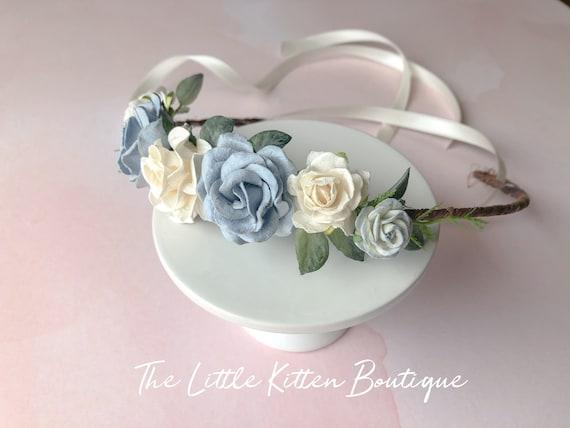 Floral hair wreaths, rose hair wreaths, wedding hair accessories, bohemian flower girl, flower girl dress, dusty blue flower hair wreath
