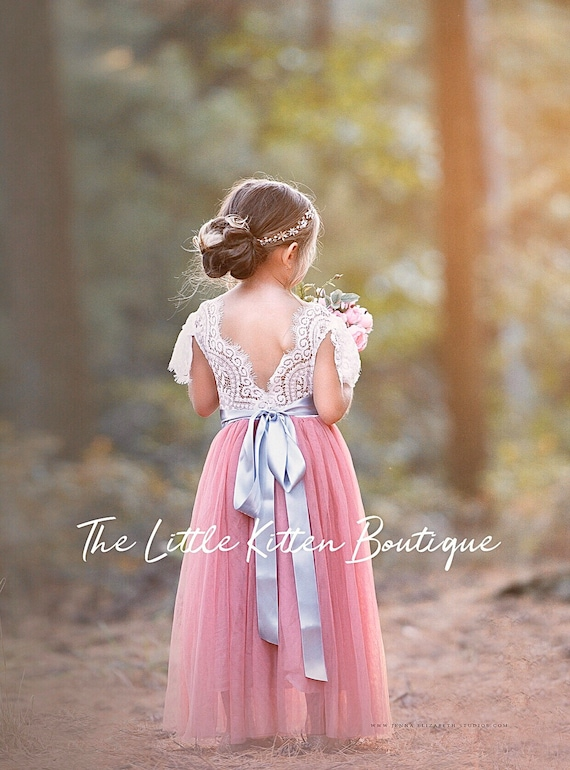 tulle flower girl dress, rustic lace flower girl dresses, flower girl dress, boho flower girl dress, ivory flower girl dress, velvet bows