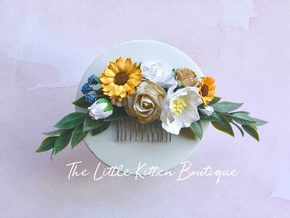 Flower hair combs, wedding hair comb, wedding hair accessories, sunflower hair comb, bohemian flower girl, floral wreath, bridal hair piece