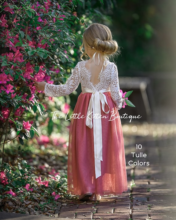 tulle flower girl dress, rustic flower girl dress, long sleeve flower girl dresses, lace flower girl dress, ivory flower girl dress, country