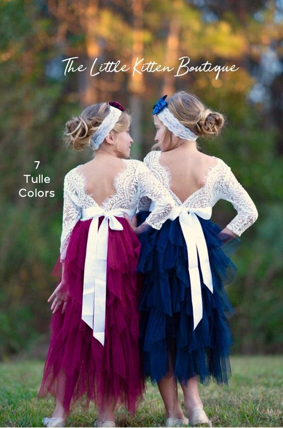 Tulle flower girl dress, rustic lace flower girl dress, junior bridesmaid dress, long sleeve flower girl dress, Ivory flower girl dress