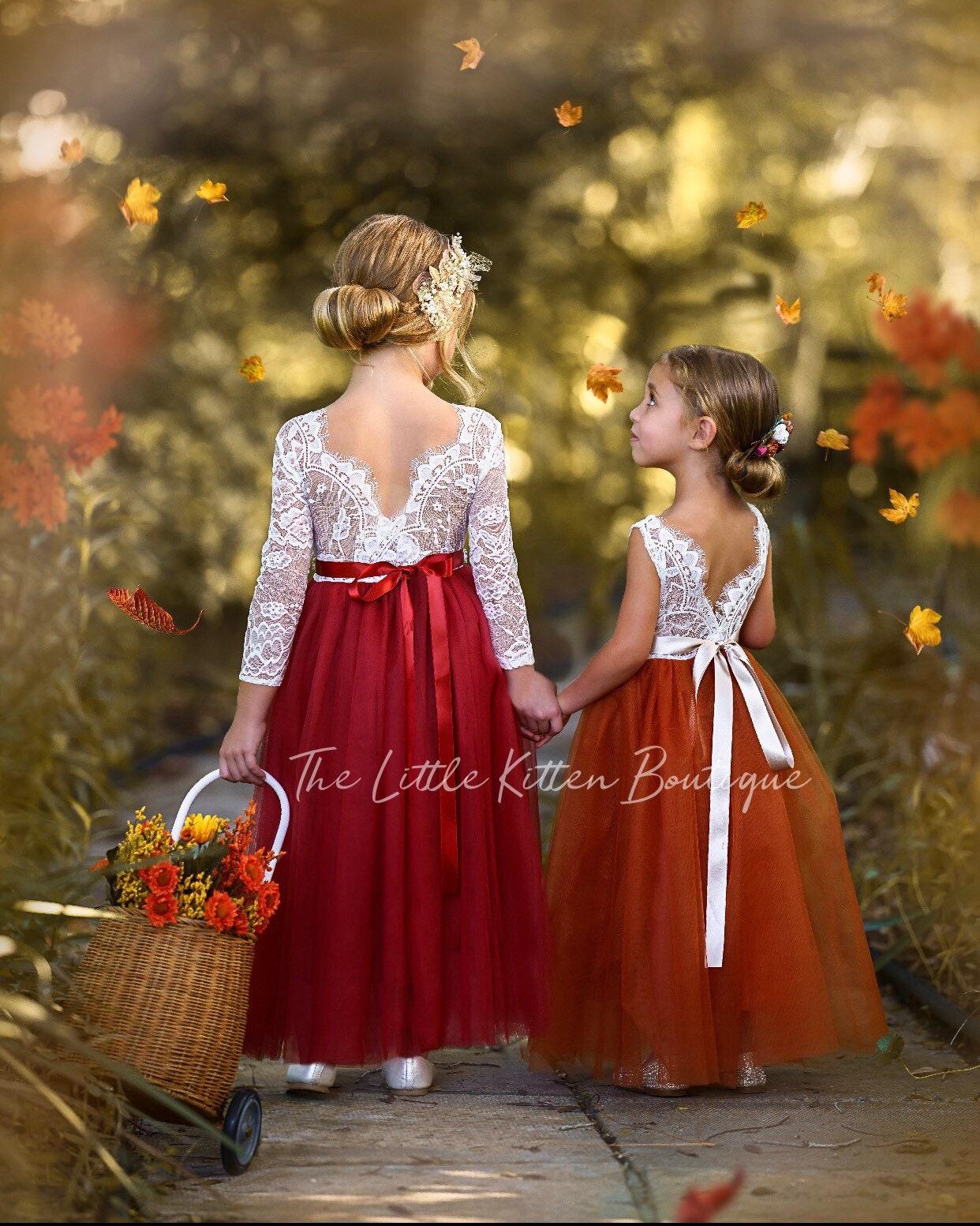 Burnt Orange Flower Girl Dress, Rust Flower Girl Dress, lace ...