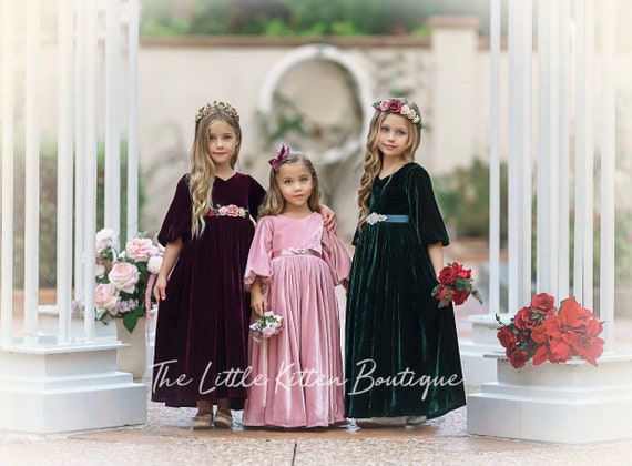 Velvet girls dress, Velvet flower girl dress, velvet holiday dress, Christmas Dress, flower girl dress, velvet dress, Vintage Holiday Dress
