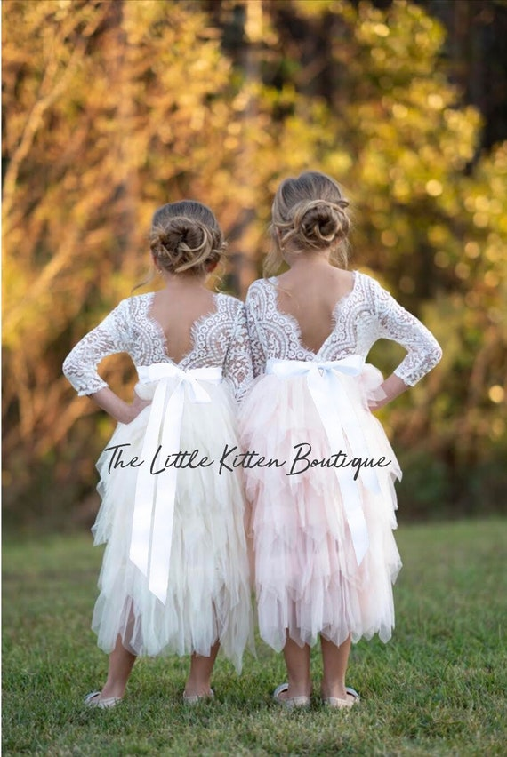 Blush pink tulle flower girl dress, White lace flower girl dress, Rustic flower girl dress, Ivory Boho flower girl dress, Toddler dress tutu