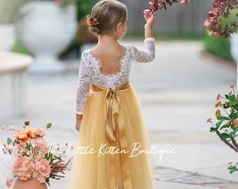 Burnt Orange tulle flower girl dress, Rust Flower Girl Dress, rustic lace flower girl dress, boho flower girl dress, flower girl dress, Rust