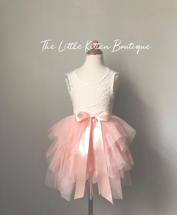 Pink Blush Tulle flower girl dress, White lace flower girl dress, Rustic flower girl dress, Ivory flower girl dress, boho flower girl dress