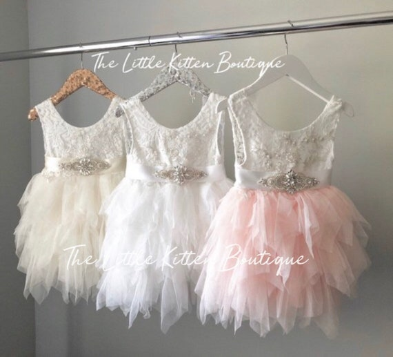 Flower Girl Dress, Blush Flower Girl Dress, Pink Flower Girl Dresses, Lace Flower Girl, Boho Dress,  White Ivory Tutu Tulle birthday Dress