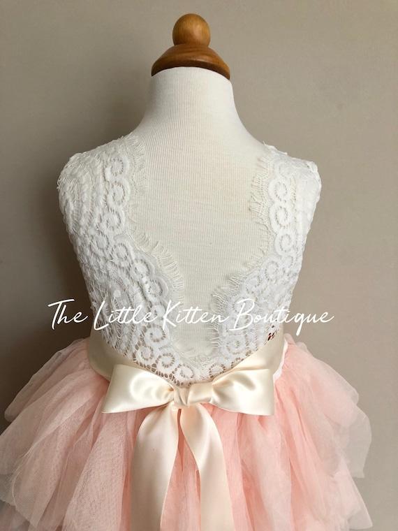 Blush pink tulle flower girl dress, White lace flower girl dress, Rustic flower girl dress, Boho, Beach flower girl dress, Toddler dress