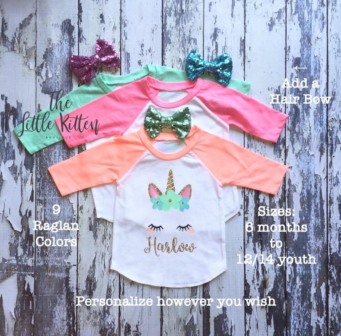 3c7b88d4d Girls Raglan Unicorn Shirt, Unicorn t-shirt, unicorn birthday party, Girls  personalized Birthday Shirt, Girls raglan cat and kitten shirts