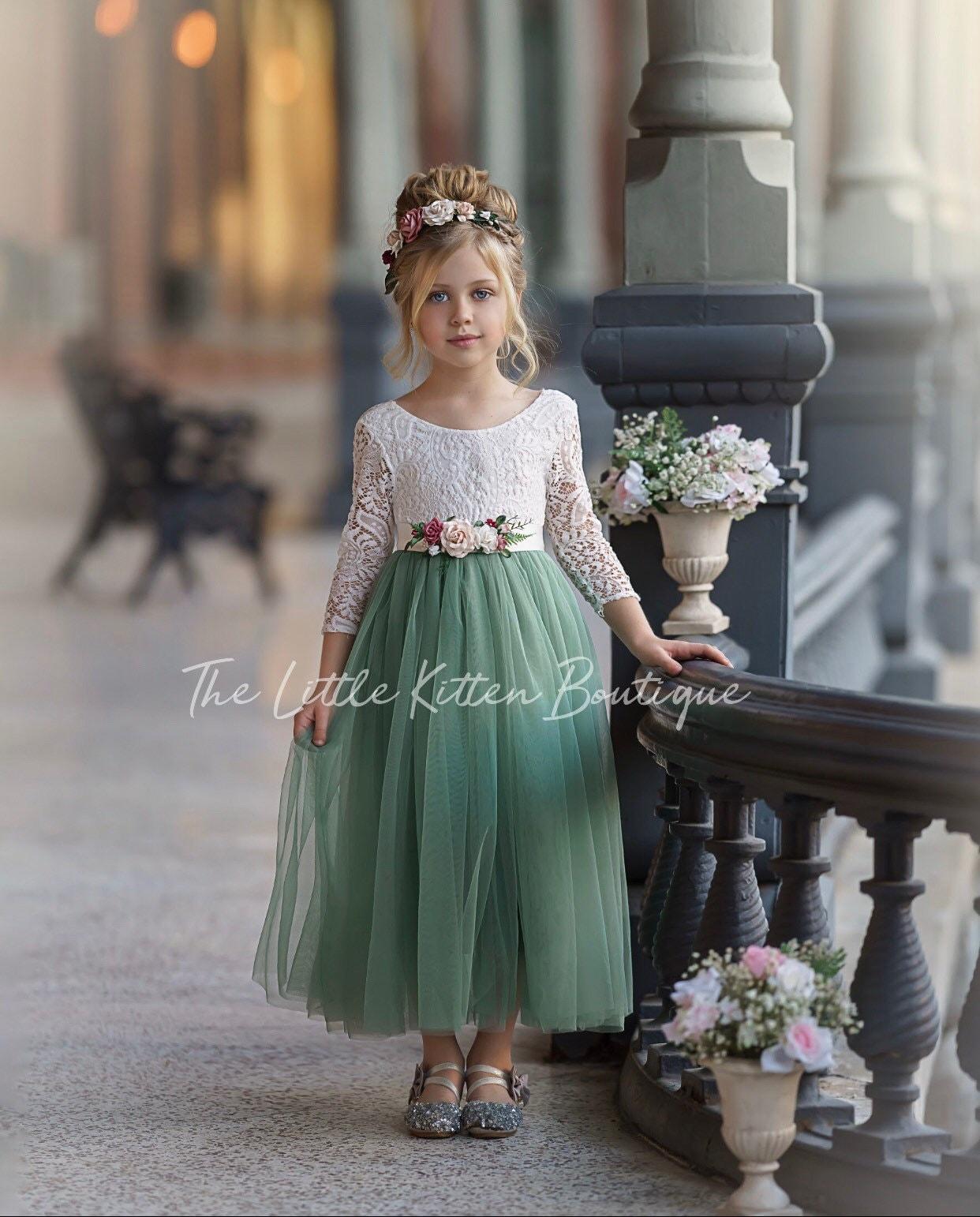 tulle flower girl dress, rustic lace flower girl dresses, long ...