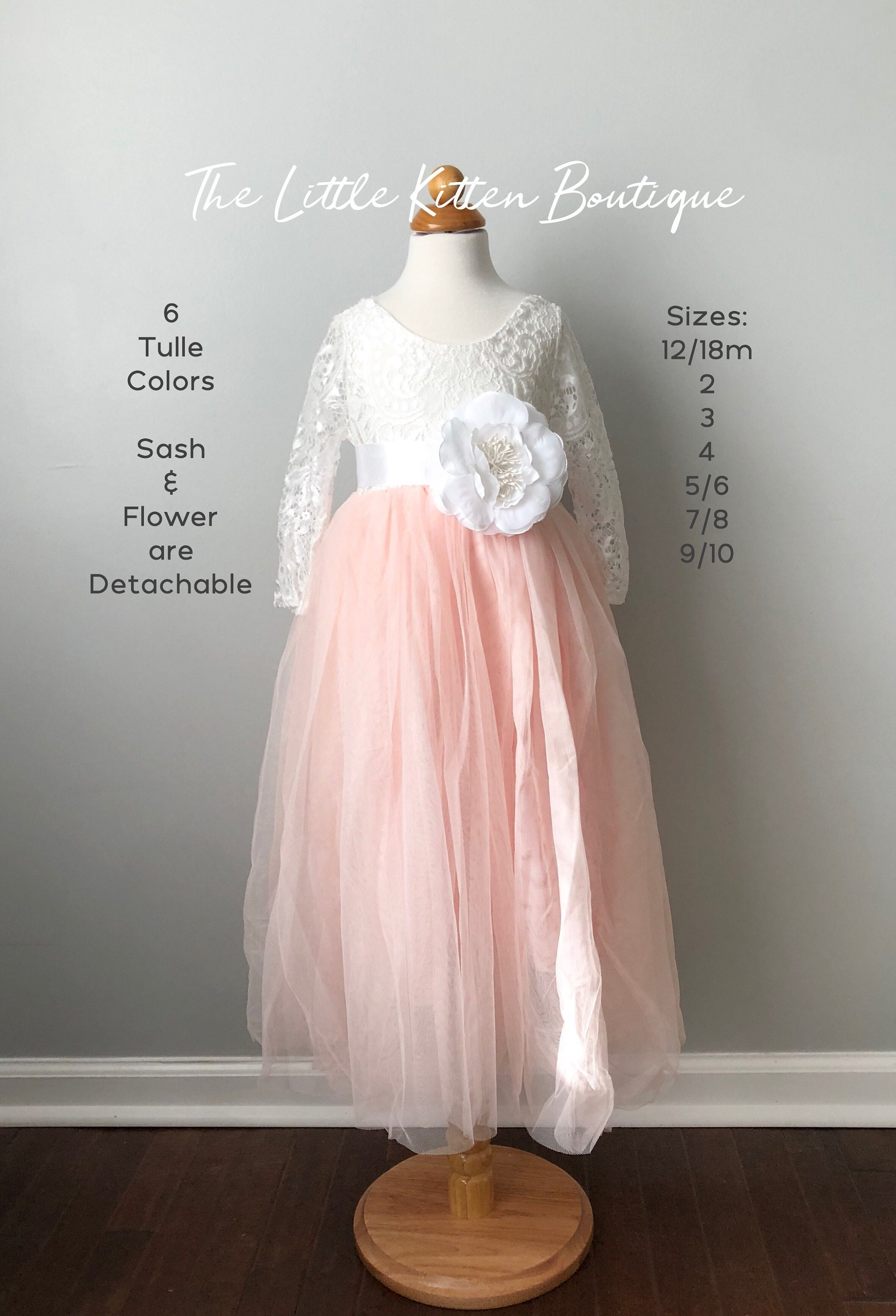 Flower Girl Dresses Girls Tulle Christmas Dresses Long Sleeve