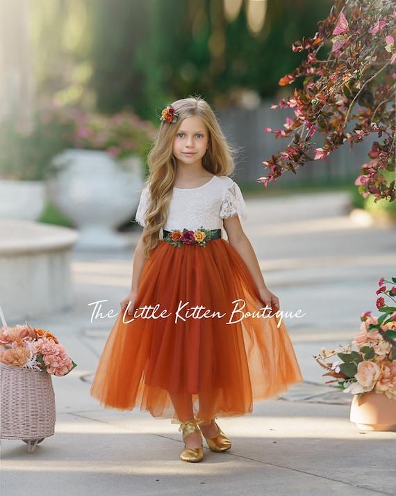 Burnt Orange Flower Girl Dress, Fall Flower Girl Dress for wedding, lace flower girl dress, Rustic flower girl dress, Boho Flower Girl Dress