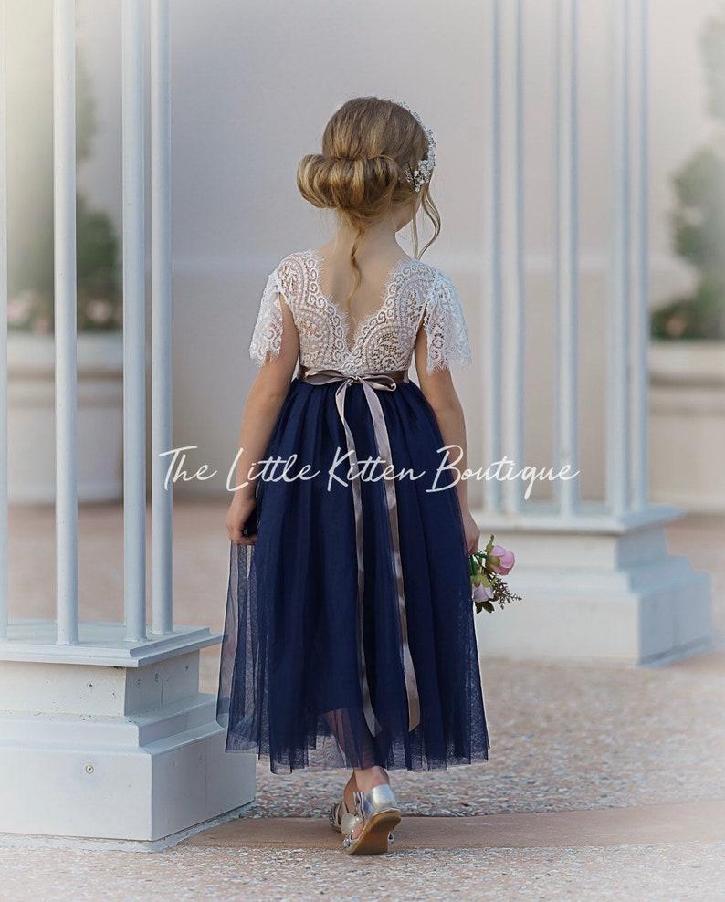tulle flower girl dress lace flower girl dress flower girl image 0